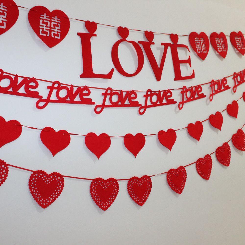 3 Meter Heart Love Letter Nonwovens Fabric Flag Garland Banner For Wedding - Wedding Look
