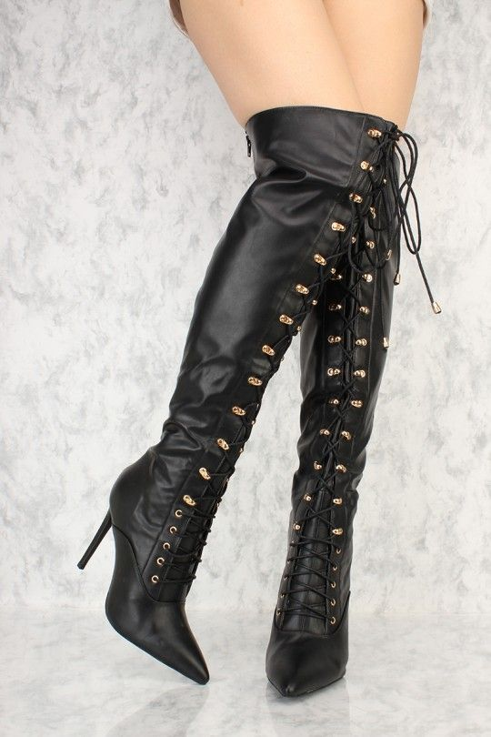 bacf54fb53b Black Front Lace Up Pointy Toe Over The Knee High Heel Ami ClubWear Boots  Faux Leather