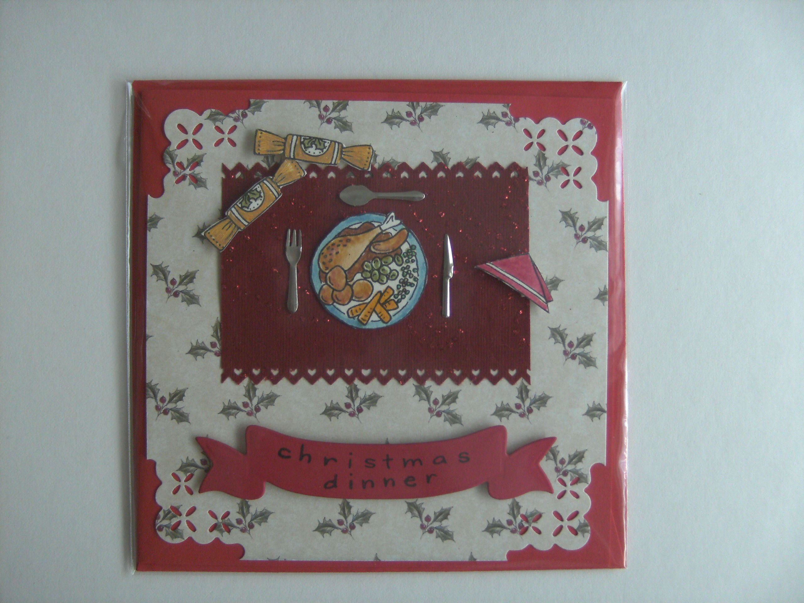 """Made by CukyBugCrafts  Woodware """"Chritmas Dinner""""  we have also used Knife, Fork and Spoon Brads."""