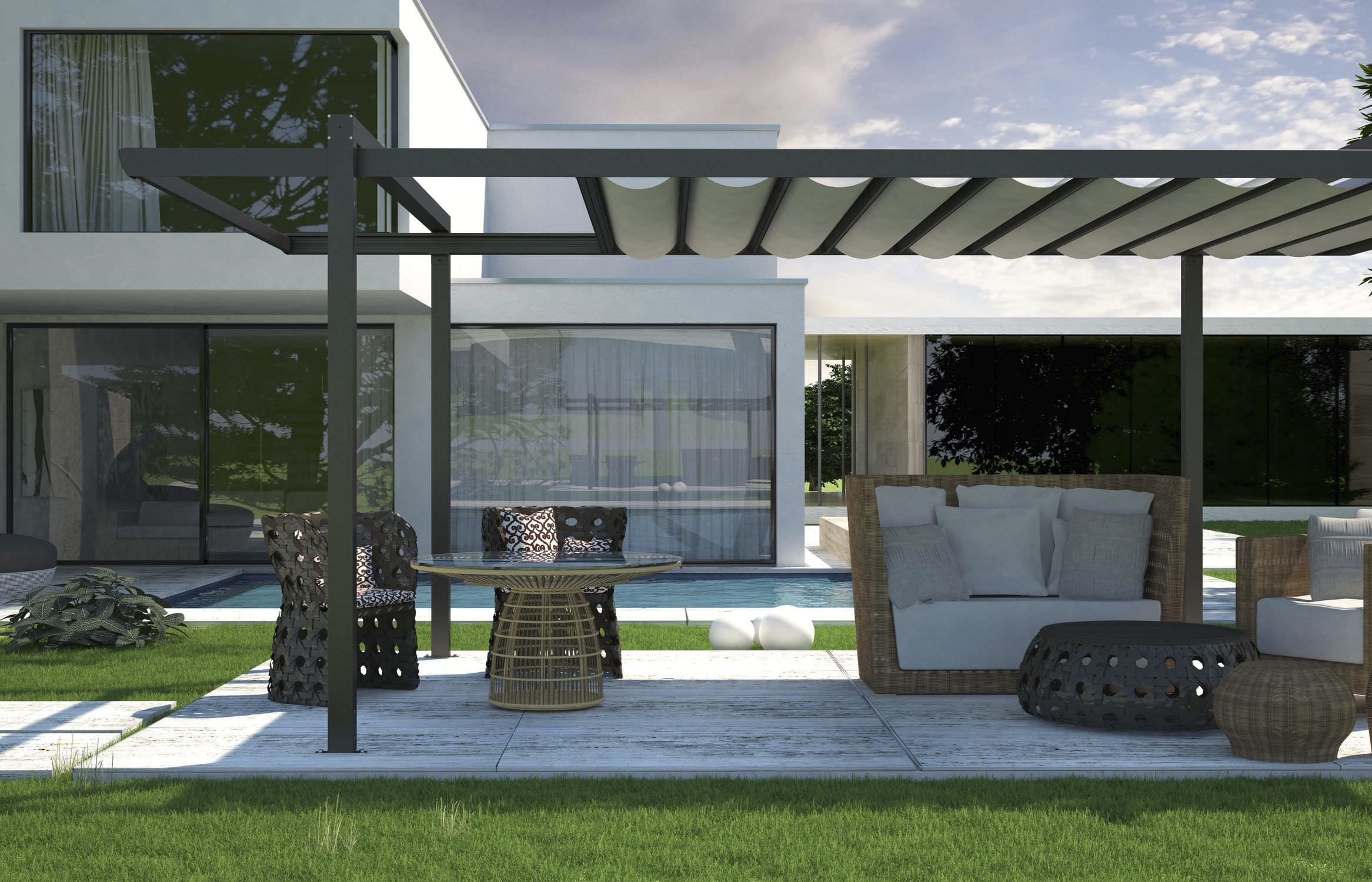 Free standing aluminum pergola sliding pvc canvas cover outside spaces pinterest for Pergola aluminium design