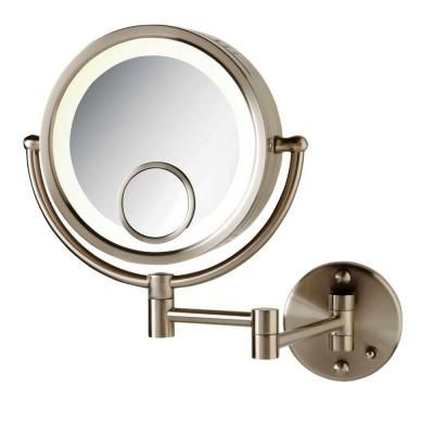 Lighted Magnifying Makeup Mirror 15x.See All 8 In X 8 In Round Lighted Wall Mounted 7x And 15x