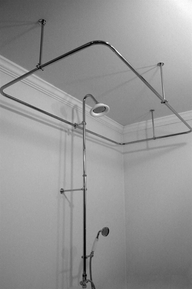 Heavy Duty CHROME Clawfoot Tub Shower Enclosure Complete with ...