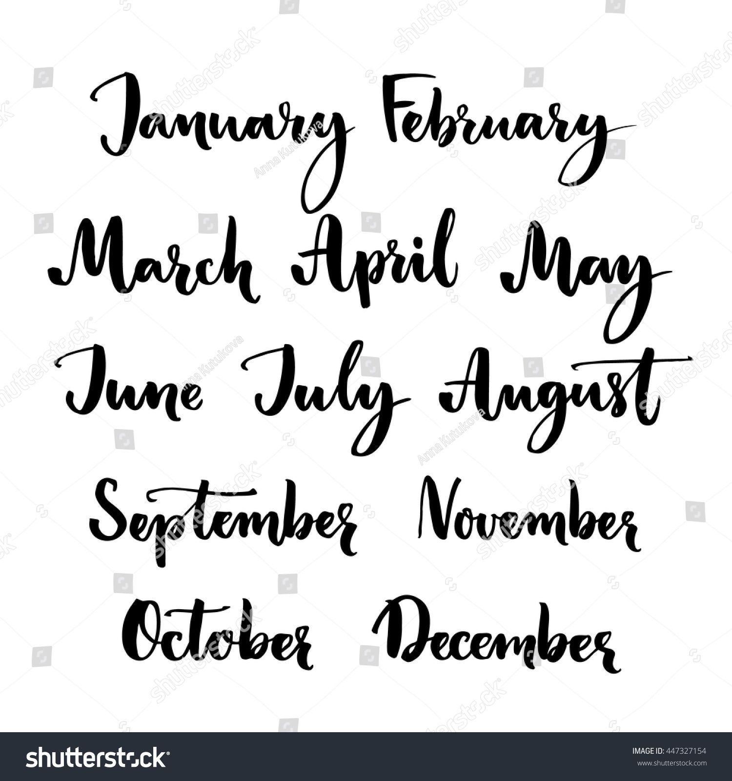 Handwritten Months Year January February March Stock