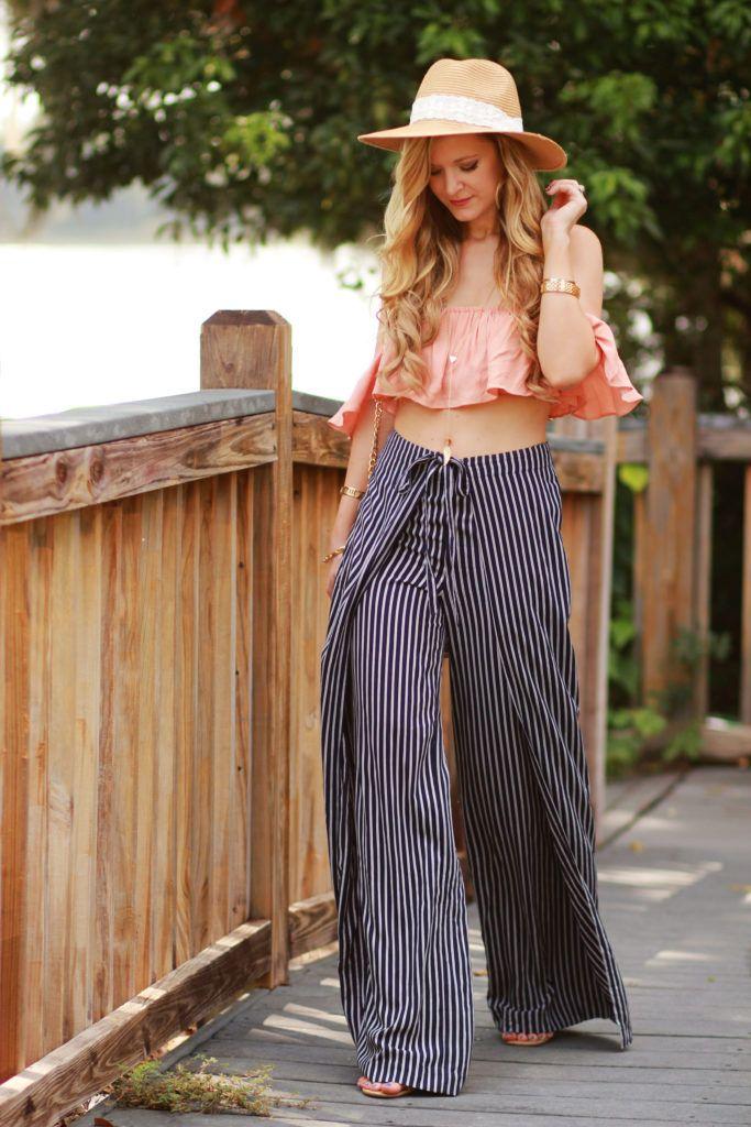 Stripe Wide Leg Pants Outfit | Women's Fashion Style | Wide