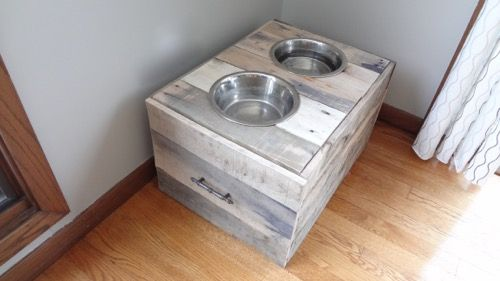 Rustic Dog Bowl Stand Food Storage 3