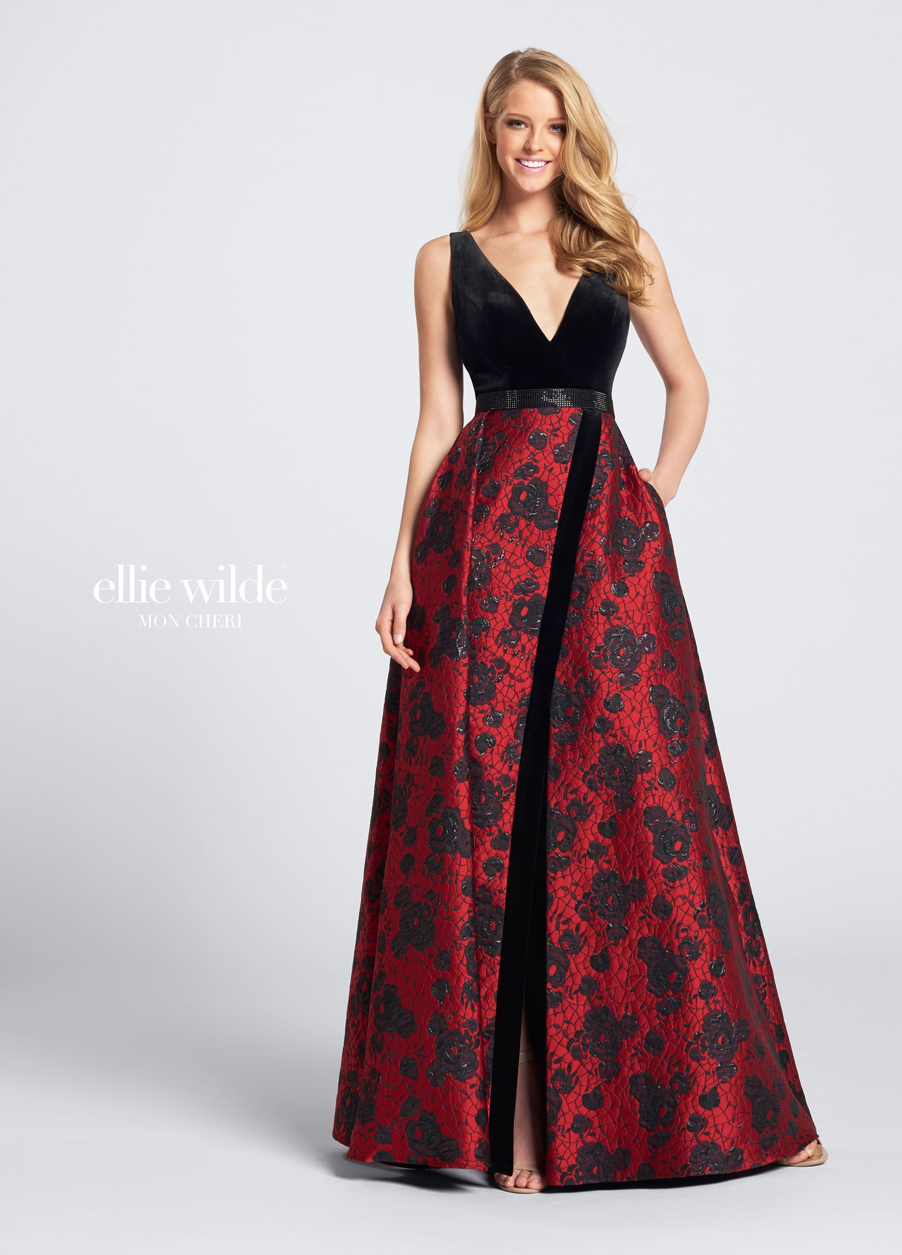 f7e1f5a21a62 Ellie Wilde EW21721 - Sleeveless velvet and Jacquard full A-line gown with  front and back deep V-necklines, velvet bodice with heat set stone  waistband, ...