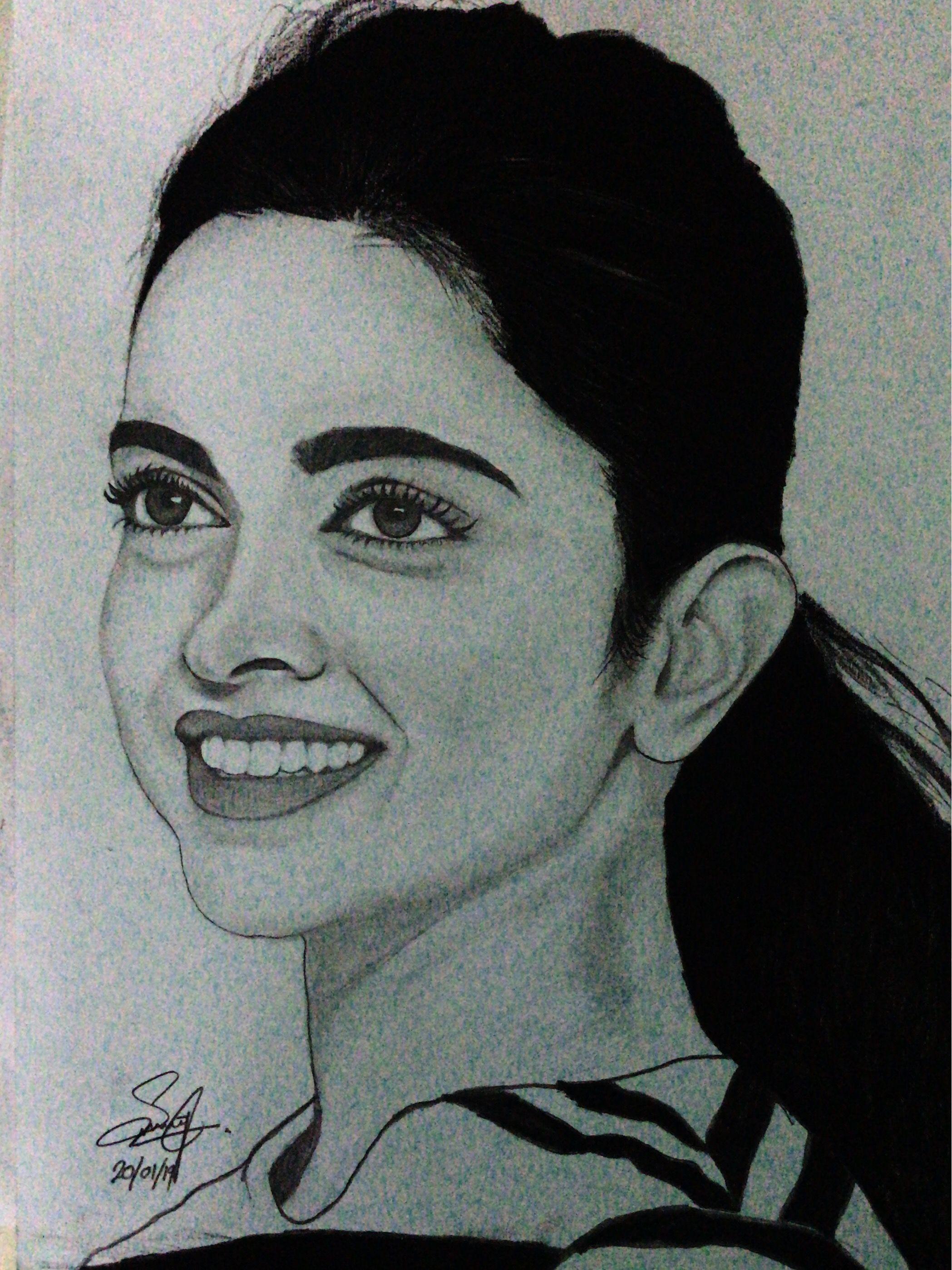 Deepika padukone pencil drawing by saravanan jeevanantham pencil