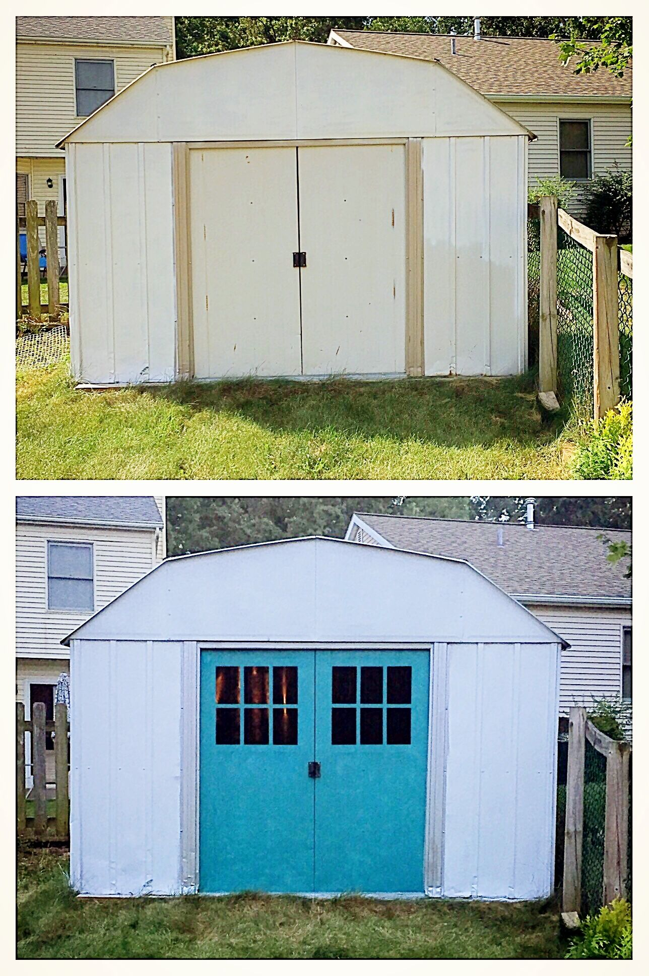 Metal Shed Makeover Diy Using Tsp Pre Wash Spray Paint Cardboard And Painters Tape Shed Makeover Metal Shed Tin Shed