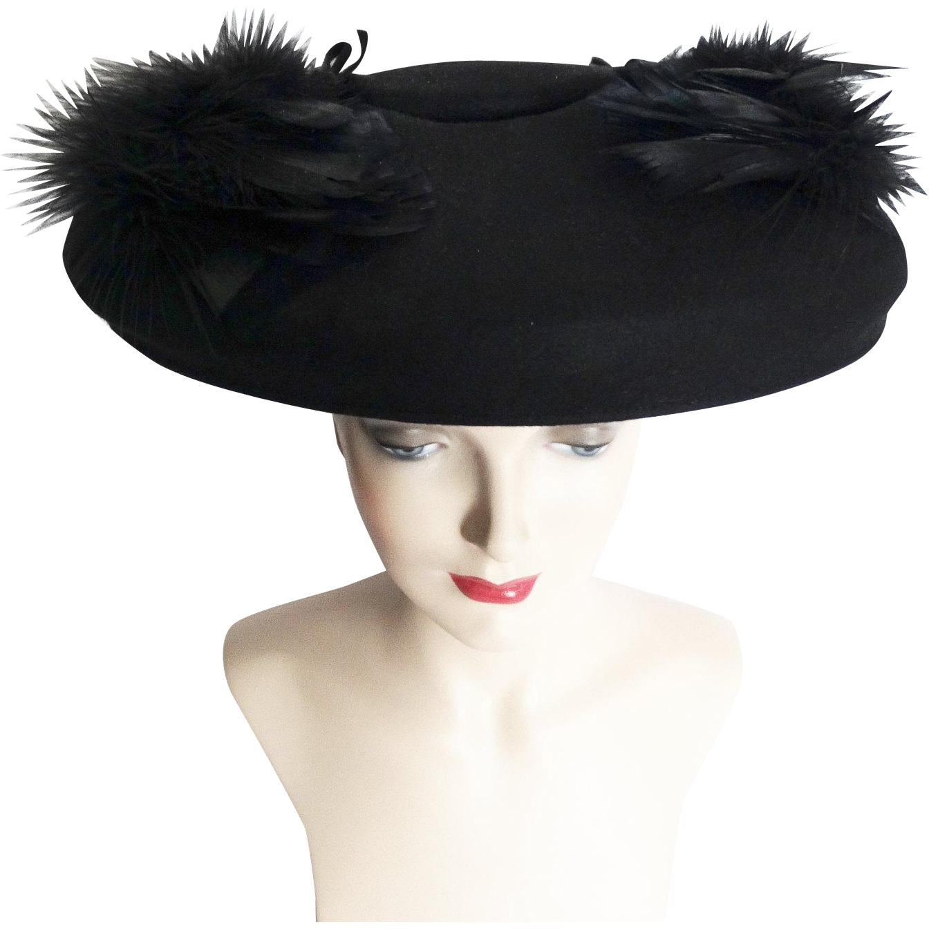 bf3d052cc Vintage 1940s Hat //40s Hat// Feathered Hat//Black//Fatale// Couture ...