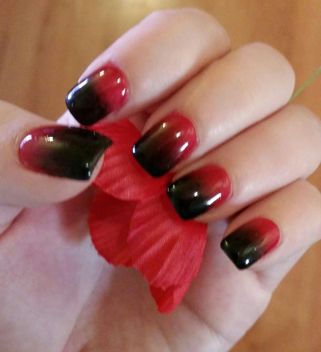Red and black ombre sns nails, luxury nails and spa Mawson lakes ...