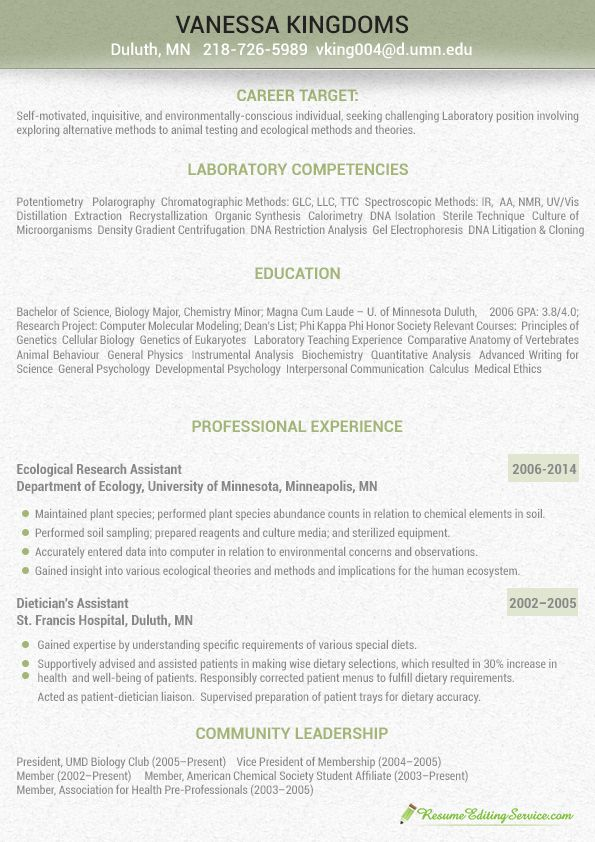 2014 Laboratory analyst resume sample Resume Editing Service - biologist resume sample
