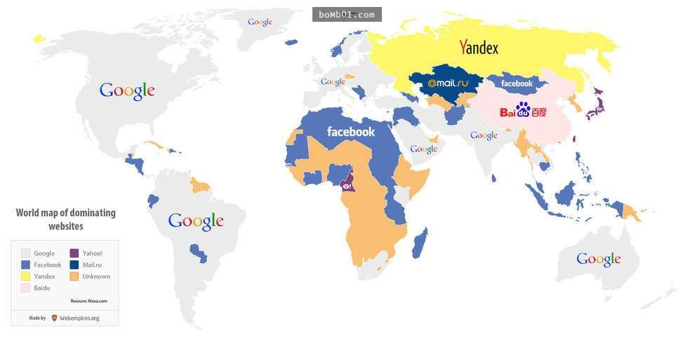 world Map Of Dominating Website Maths Graphics Map