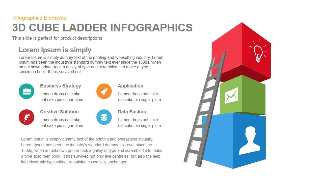 3d Cube Ladder Infographics Powerpoint Keynote Template Diagram