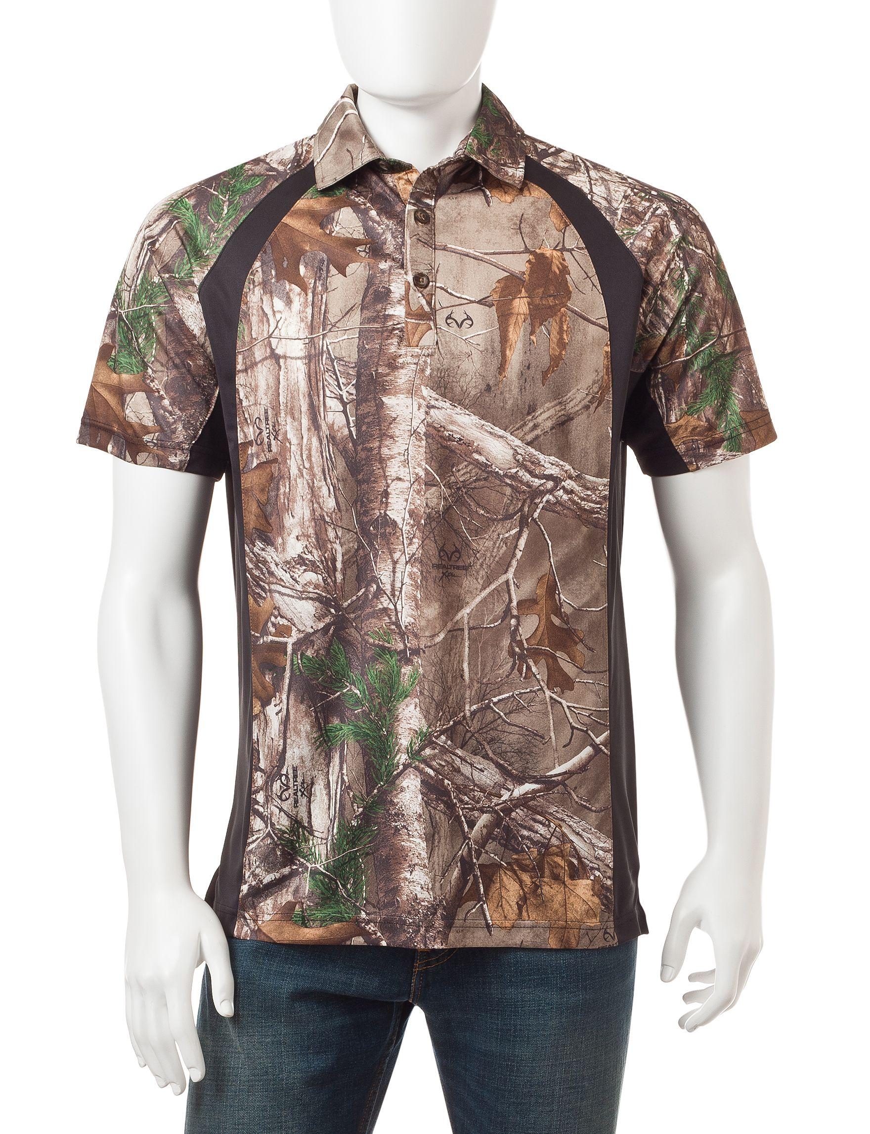 Earthletics realtree xtra camo print polo shirt stage for Camo polo shirts for men