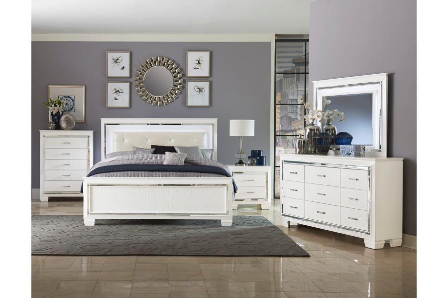 Allura White Led Panel Bedroom Set White Bedroom Set Bedroom Set Modern Bedroom Set