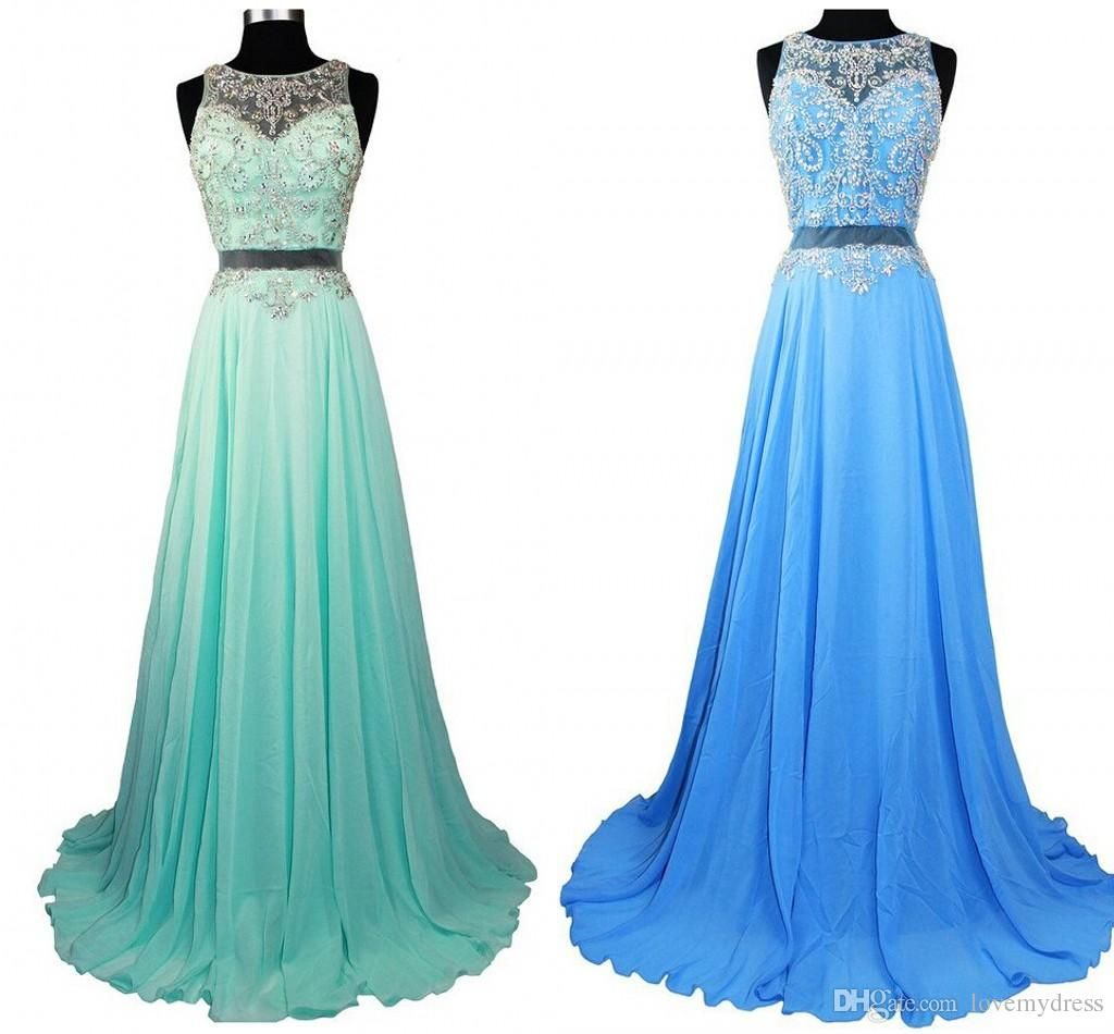 Gradient Ombre Prom Dresses Sheer Beads Crew Light Pink Blue Green ...