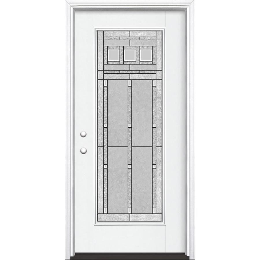 Masonite Craftsman Full Lite Decorative Glass Right Hand Inswing Arctic White Painted Fiberglass Prehung Entry Door With Insulating Core Common 36 In X 80 In In 2020 Glass Decor Entry Doors White Paints