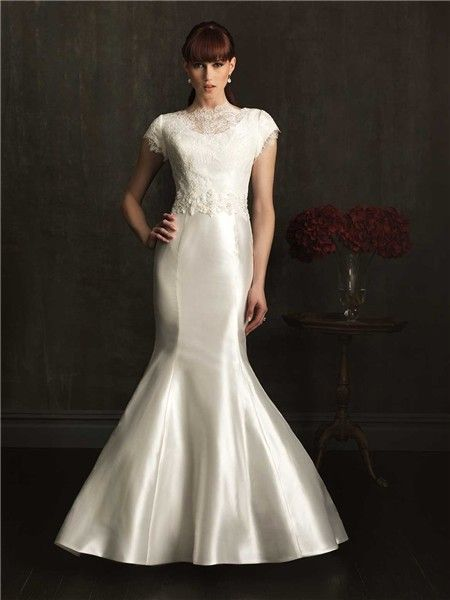 Cute Modest Fitted Mermaid High Neck Cap Sleeve Taffeta Beaded Lace Wedding Dress