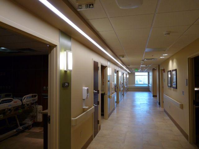 Hospital Corridor Lighting Design: Hospital CVICU Corridor Lighting, Recessed Linear
