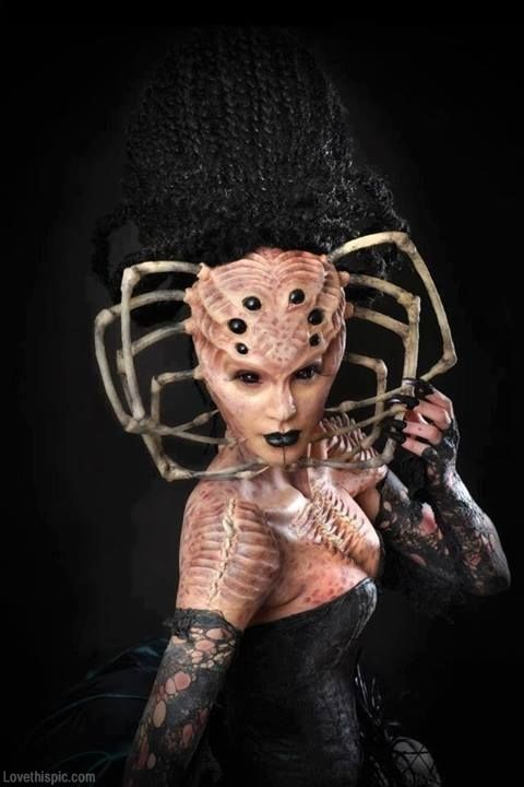 Spider lady costume party makeup scary spooky autumn halloween ...