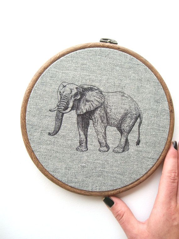 Grey Elephant  Nursery Decor // Hoop Art // by Smallternative, £14.50