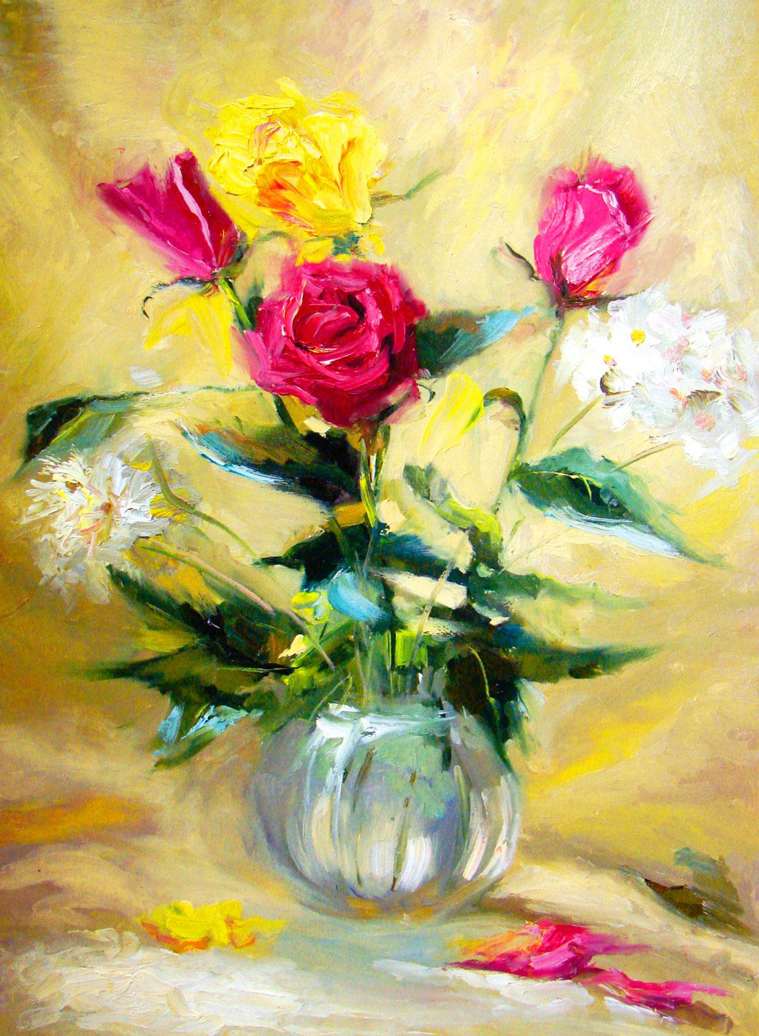 Original Wall Art Three red roses oil on canvas by spirosart ...