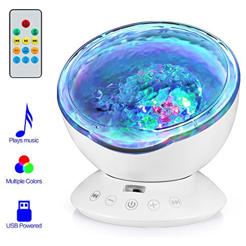 Ocean Wave Projector, Hallomall 12LED Night Light Lamp