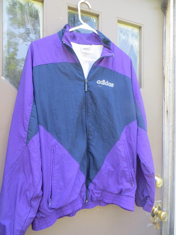 d30810a336a9a vintage Adidas purple and navy color block Windbreaker | ETSY SHOP ...