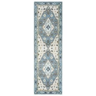 Shop for Arden Loft Crown Way Ivory/ Blue Oriental Hand-tufted Wool Area Rug (2'6' x 10'). Get free shipping at Overstock.com - Your Online Home Decor Outlet Store! Get 5% in rewards with Club O!