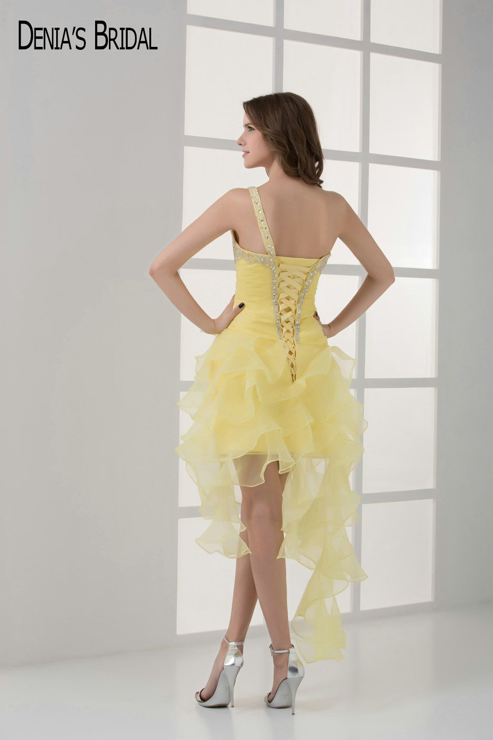 short yellow cocktail party evening dresses with strapless