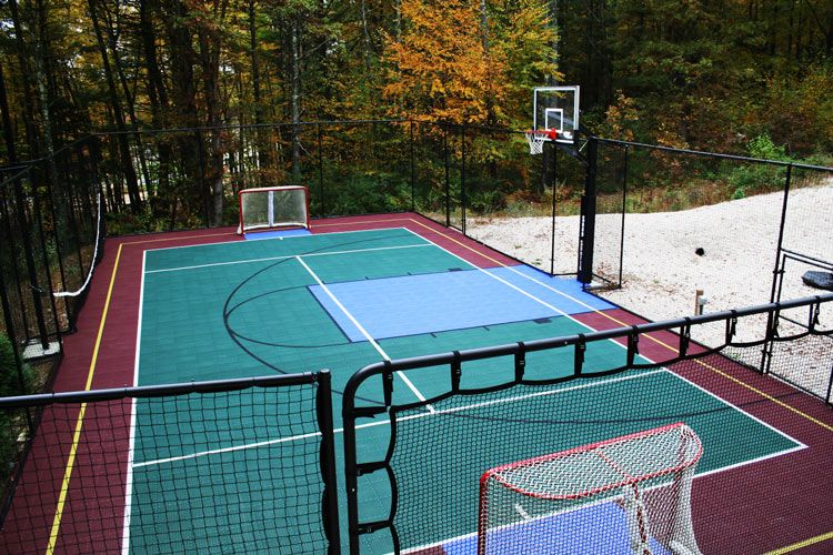 Check out this snapsports outdoor multi game backyard for Backyard sport court