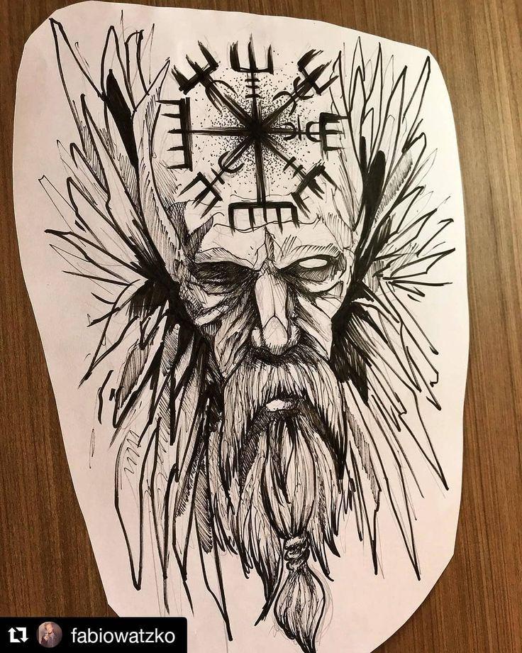 Schwarz Weisse Tattoo Vorlage Wikinger Helm 12