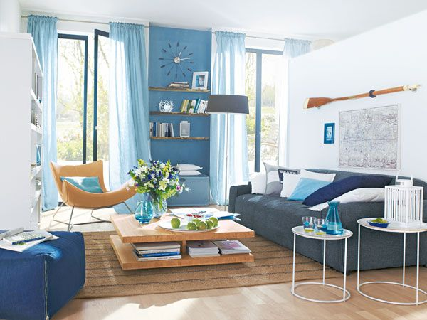 maritim wohnen blue white sky colors light interiors interior ...