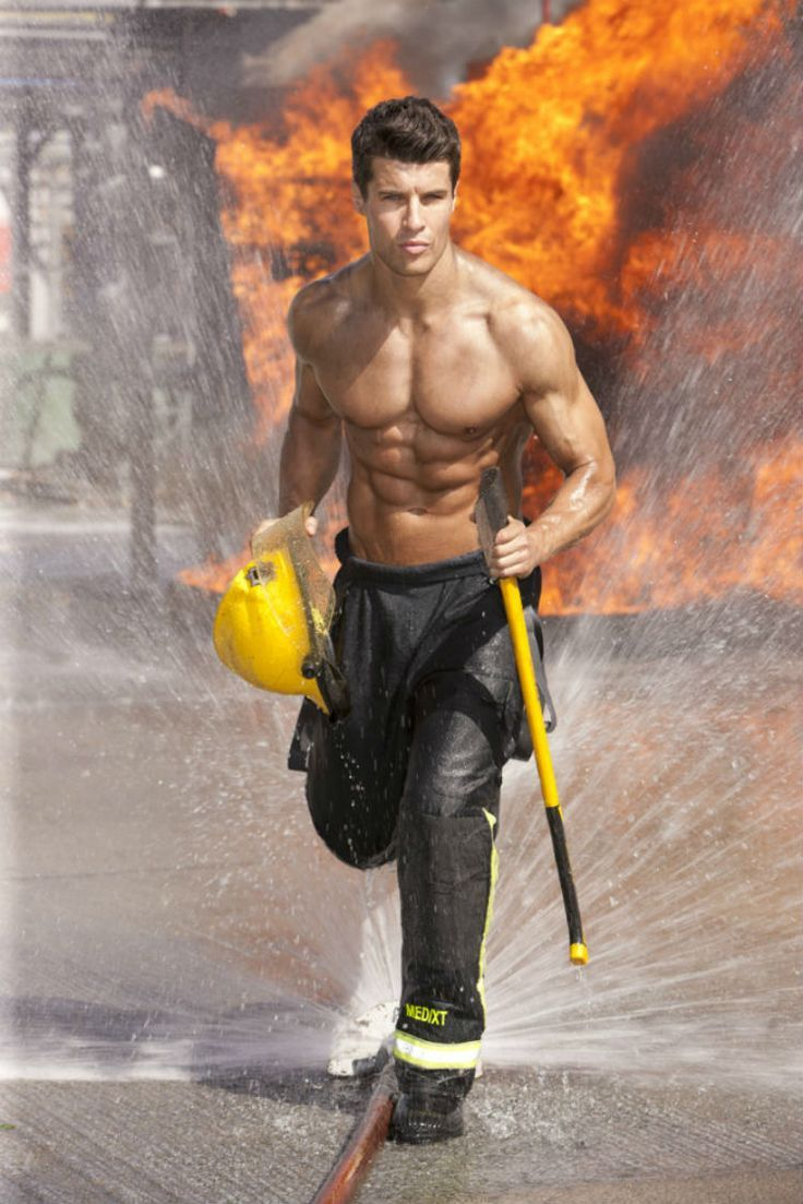 Hot shots of half-dressed firemen for a charity calendar