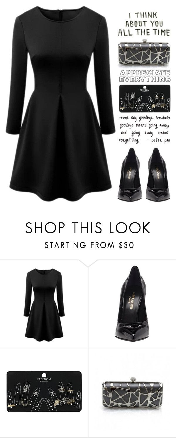 """""""all black"""" by fragmentoftheuniverse ❤ liked on Polyvore featuring Yves Saint Laurent, Topshop, women's clothing, women's fashion, women, female, woman, misses, juniors and allblack"""