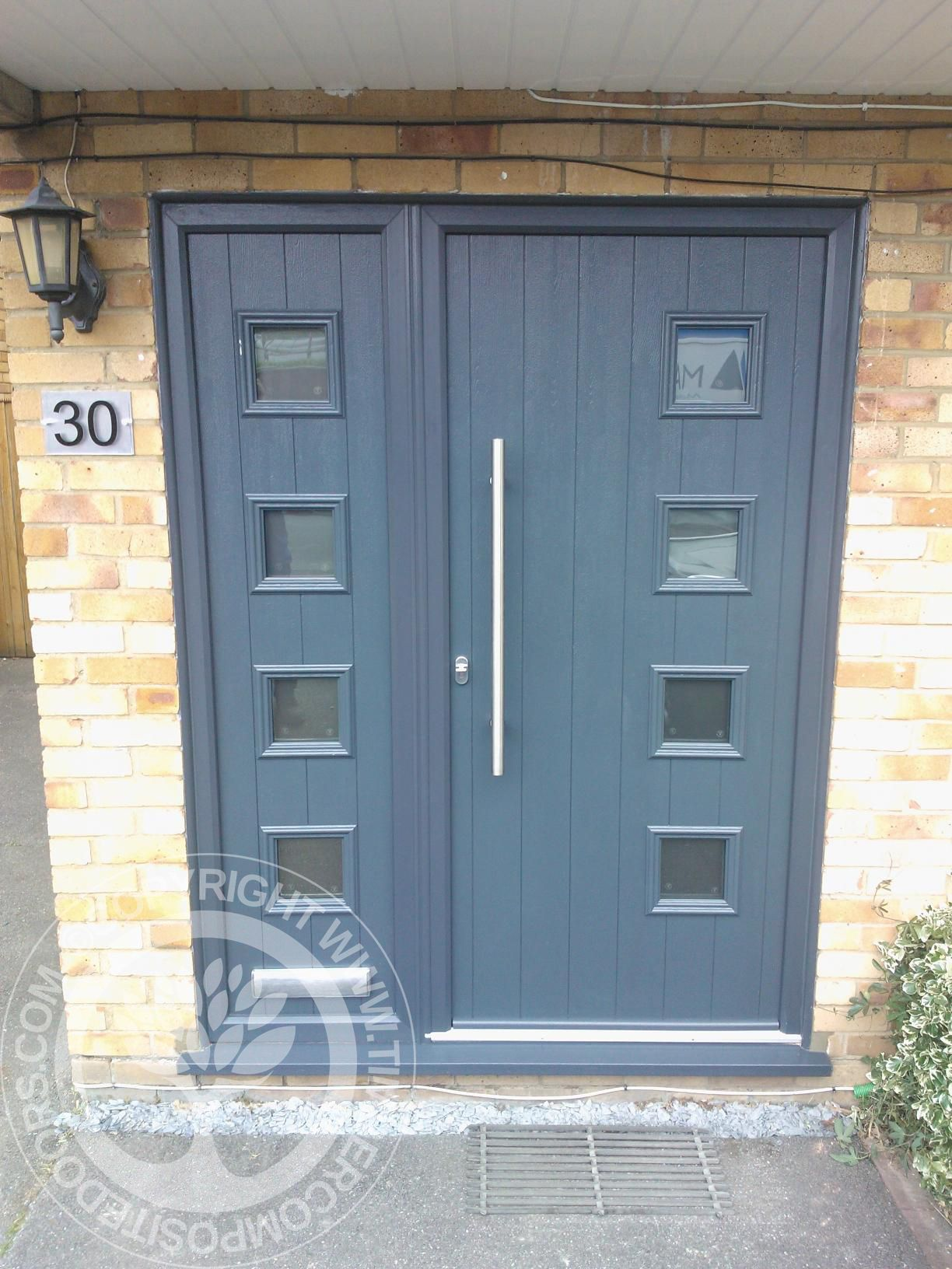 Solidor milano italia collection composite doors in black for Front door and side panel