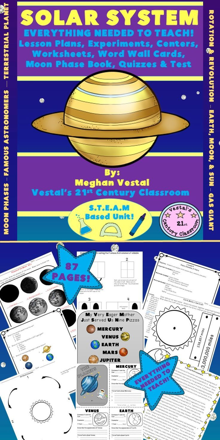 The solar system is fascinating and EVERYTHING you need to teach a science unit on the solar system can be found here! This 87 page unit includes all the lesson plans, experiments, worksheets, projects, and centers that are needed to teach a 2 week unit.  Recommended for grades 4 & 5.