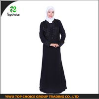 TC-1195 Top choice Black Moroccan kaftan fabric with bead detail muslim abaya