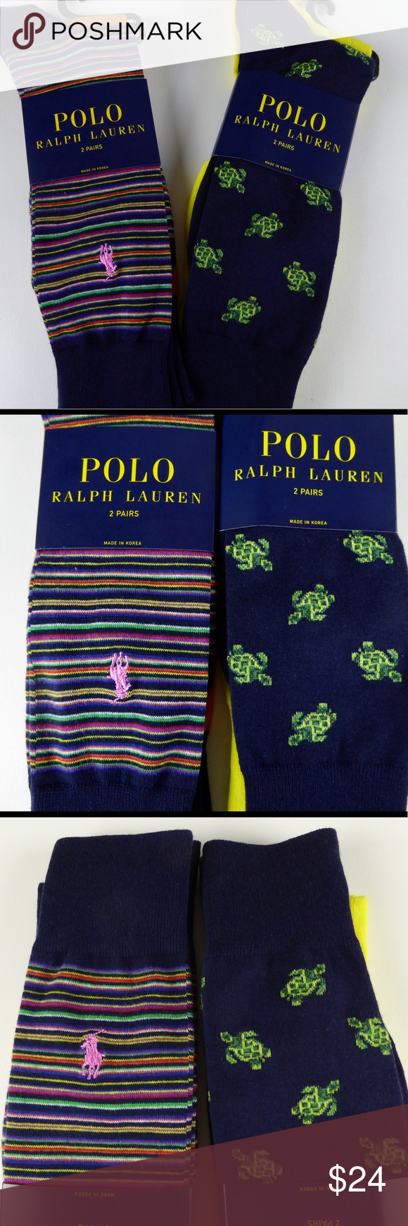 Purple dress socks   prs Polo Ralph Lauren dress socks Turtles Stripe NWT  Dress socks
