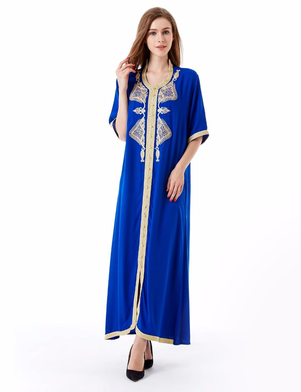 Womenus maxi long sleeve long dress moroccan kaftan caftan jilbab