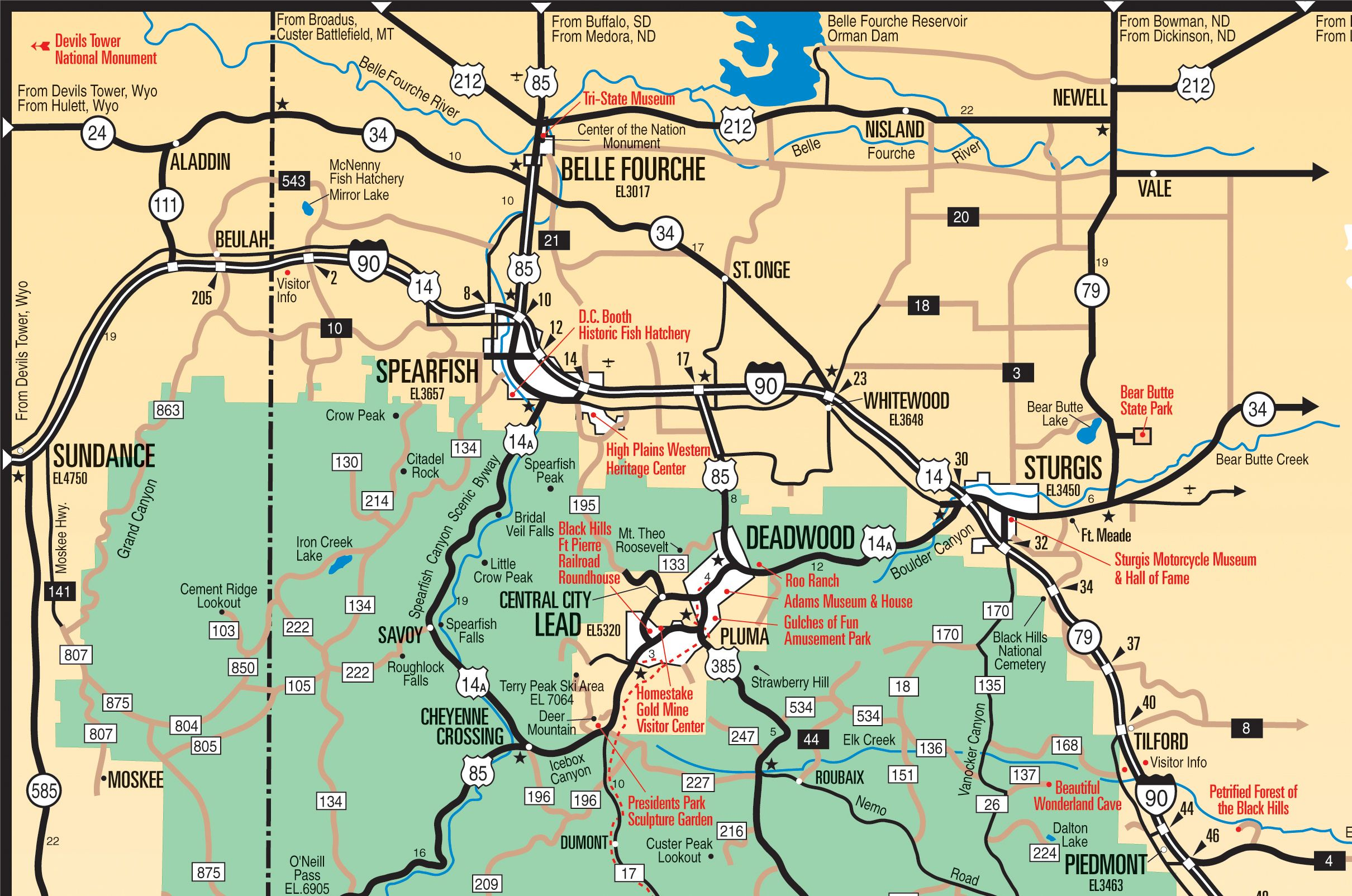 Black Hills  Northern Hills Map  South Dakota  See the USA in