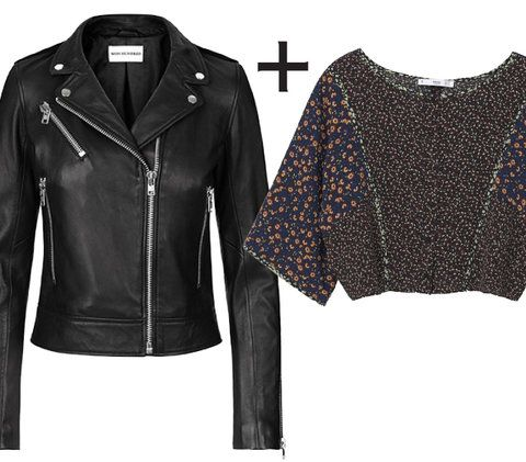 10 Genius Layering Combos to Wear During Awkward Spring Weather  - Leather Moto Jacket + Floral Blouse - from InStyle.com