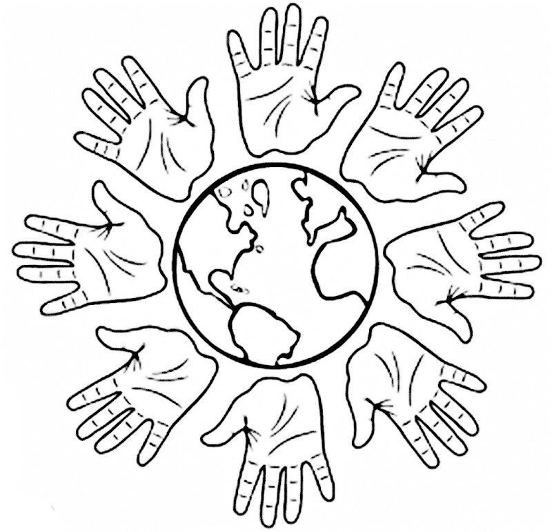 Images of hands and world coloring pages Inspir l