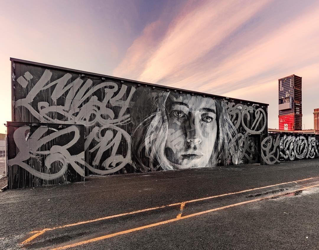 r_o_n_e wall with mayonaize at Dark Park, Hobart