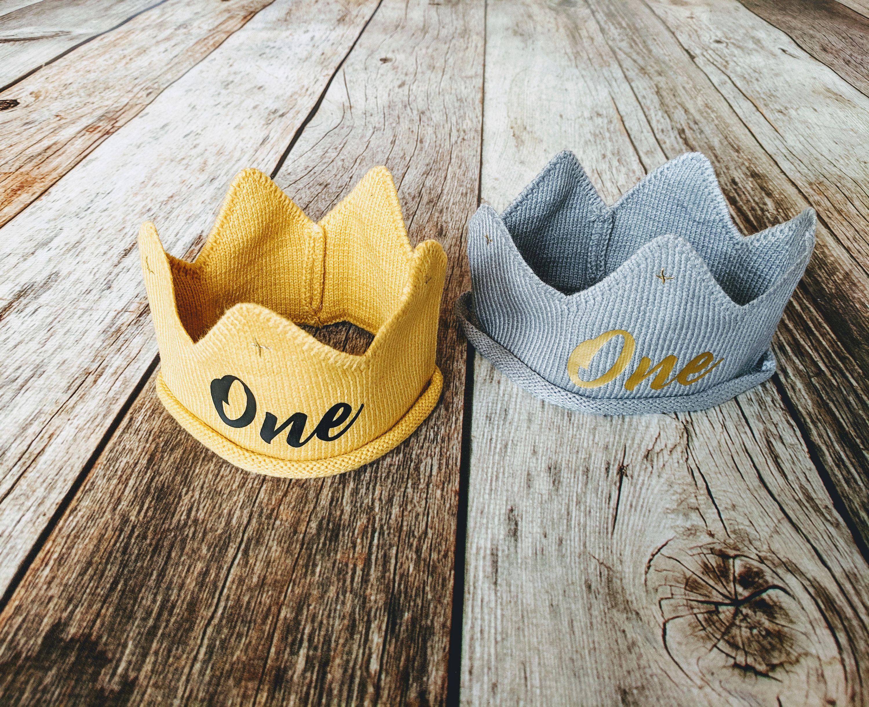 First birthday crown 1st birthday knit crown for baby boy