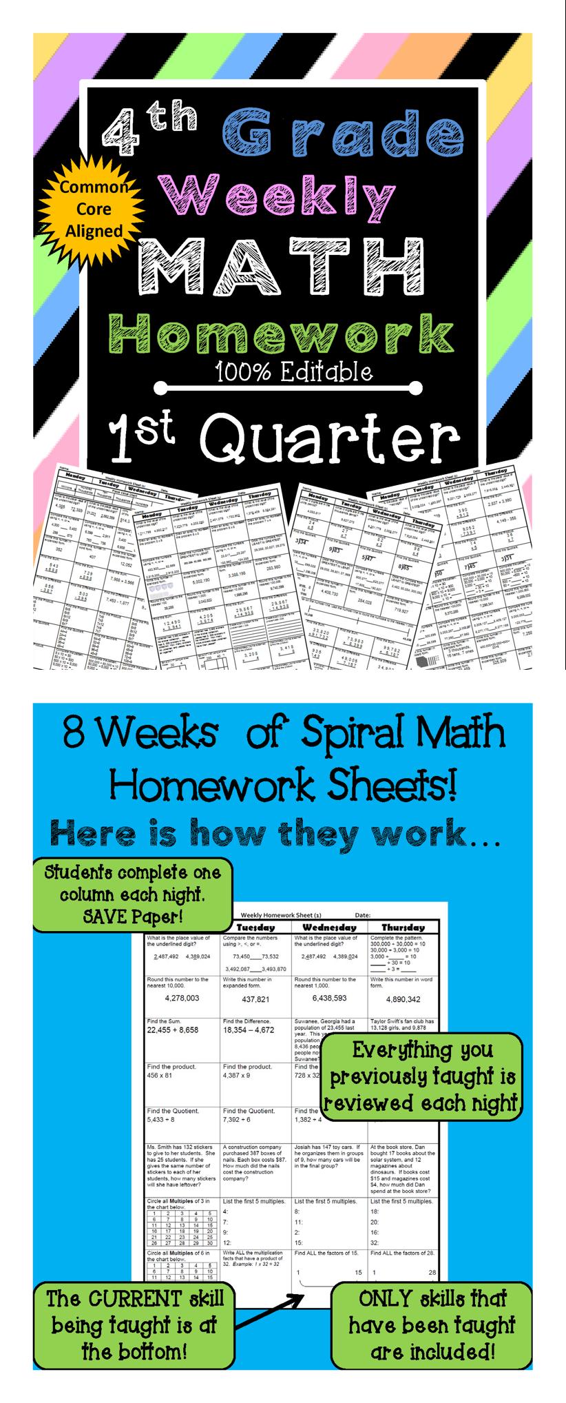 4th Grade Math Review | Homework or Morning Work | 1st Quarter ...