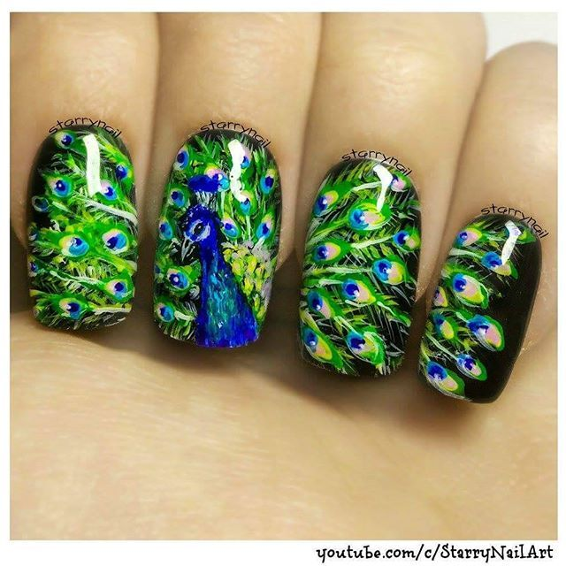 Peacock Nail Art | nails | Pinterest | Arte de uñas de verano, Uñas ...