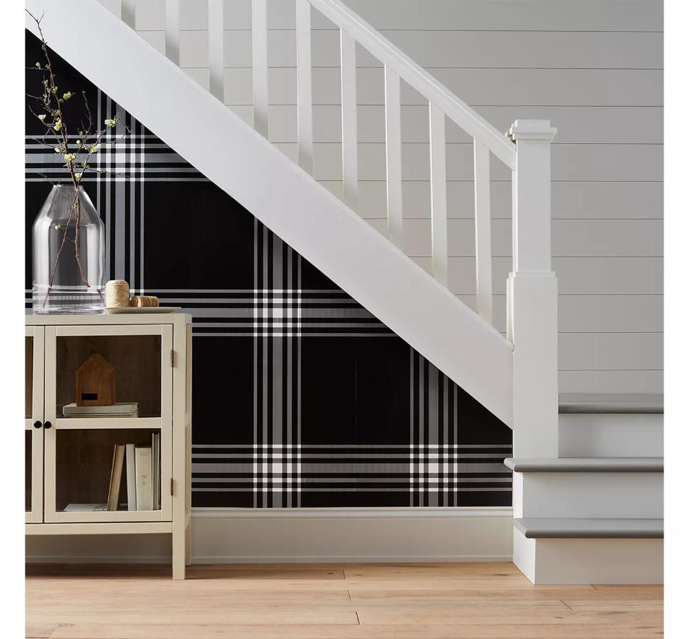 Hadley 2 Door Accent Cabinet Shell Threshold Plaid Wallpaper Hallway Wallpaper Bathroom Wallpaper