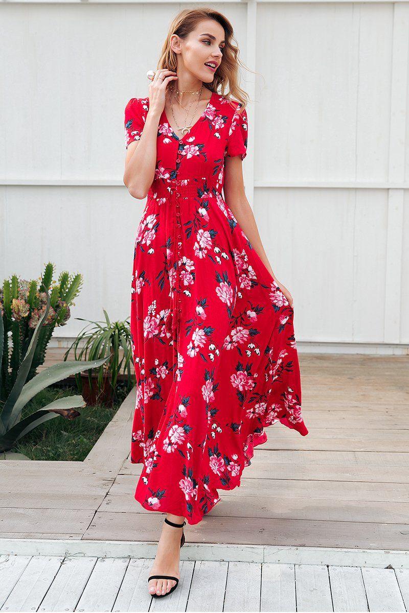 Material  Viscose Silhouette  Fit and Flare Decoration  Button Dresses  Length  Ankle-Length Sleeve Style  Regular Waistline  Empire Neckline  V- Neck  PLEASE ... 93e8ff7cc