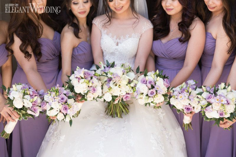 A Lilac Wedding Featuring Tall Cherry Blossoms #fantasticweddingbouquets